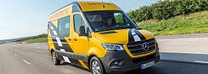 Mercedes-Benz Sprinter 314 CDI, Safety Van, Kastenwagen, Exterieur, yellowstone, OM 651 DE 22 LA mit 105 kW (143 PS), 6-Gang-Schaltgetriebe, Kraftstoffverbrauch kombiniert: 7,9-7,7 l/100 km, CO2-Emissionen kombiniert: 207-201 g/km, Aktiver Abstands-Assistent DISTRONIC, Aktiver Brems-Assistent, Aktiver Spurhalte-Assistent, Attention Assist, Park Assistent, Seitenwind-Assistent, Totwinkel-Assistent,